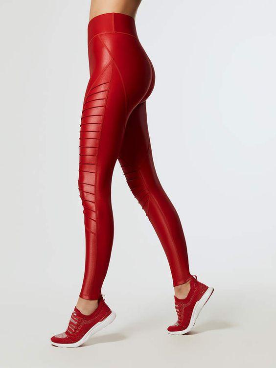 Stretch red veggie leather