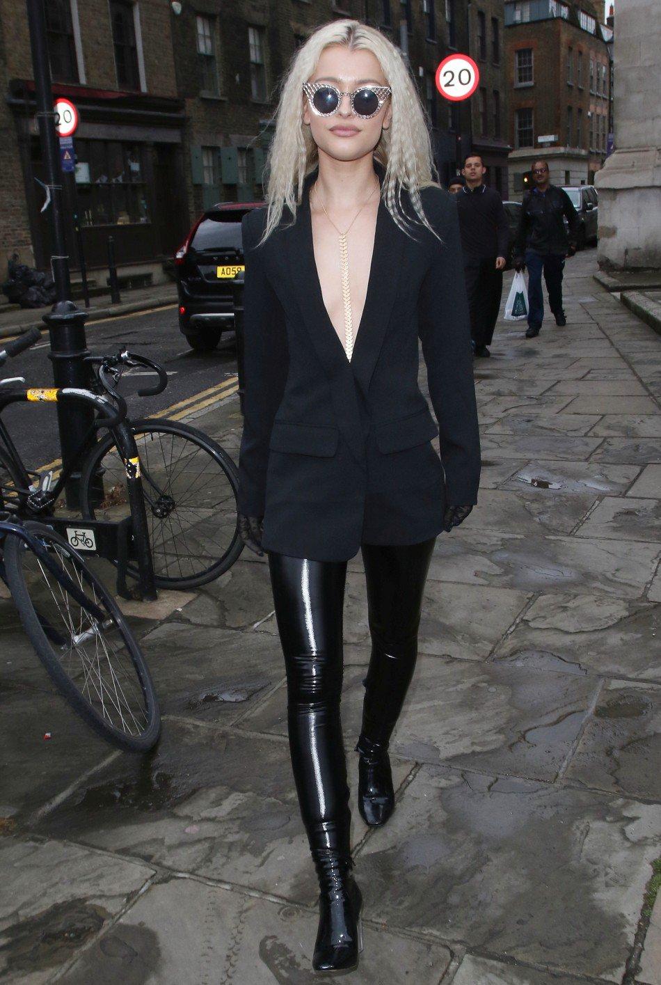 Black stretch vinyl leggings