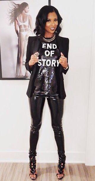Black stretch vinyl pants