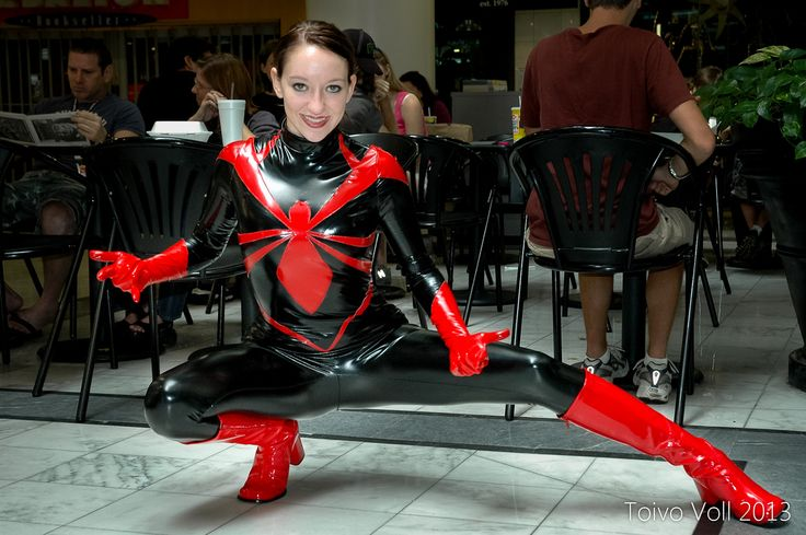 Stretch vinyl spider woman catsuit