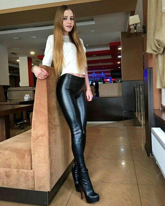 Black stretch vinyl trousers