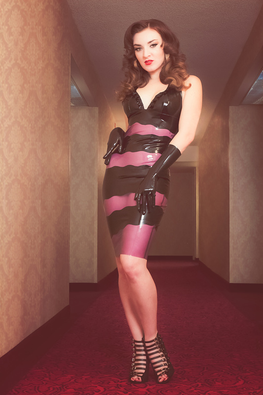 Black and transparent latex dress