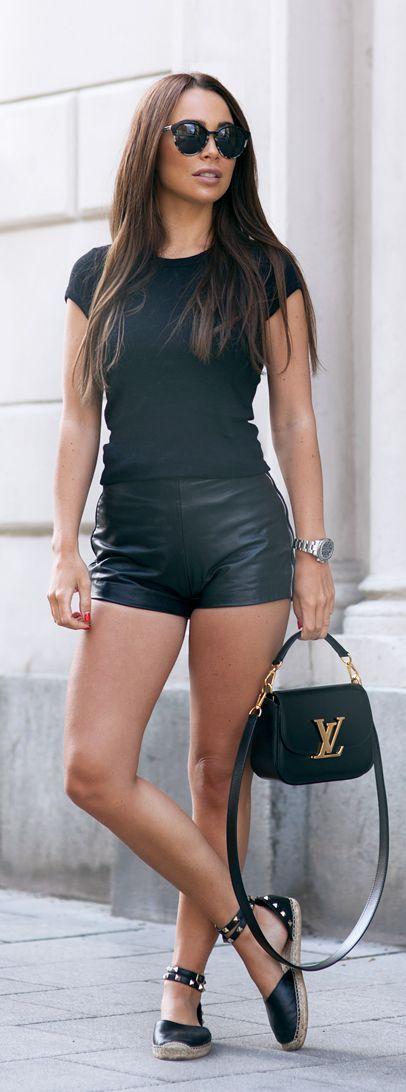 Black vegan leather shorts