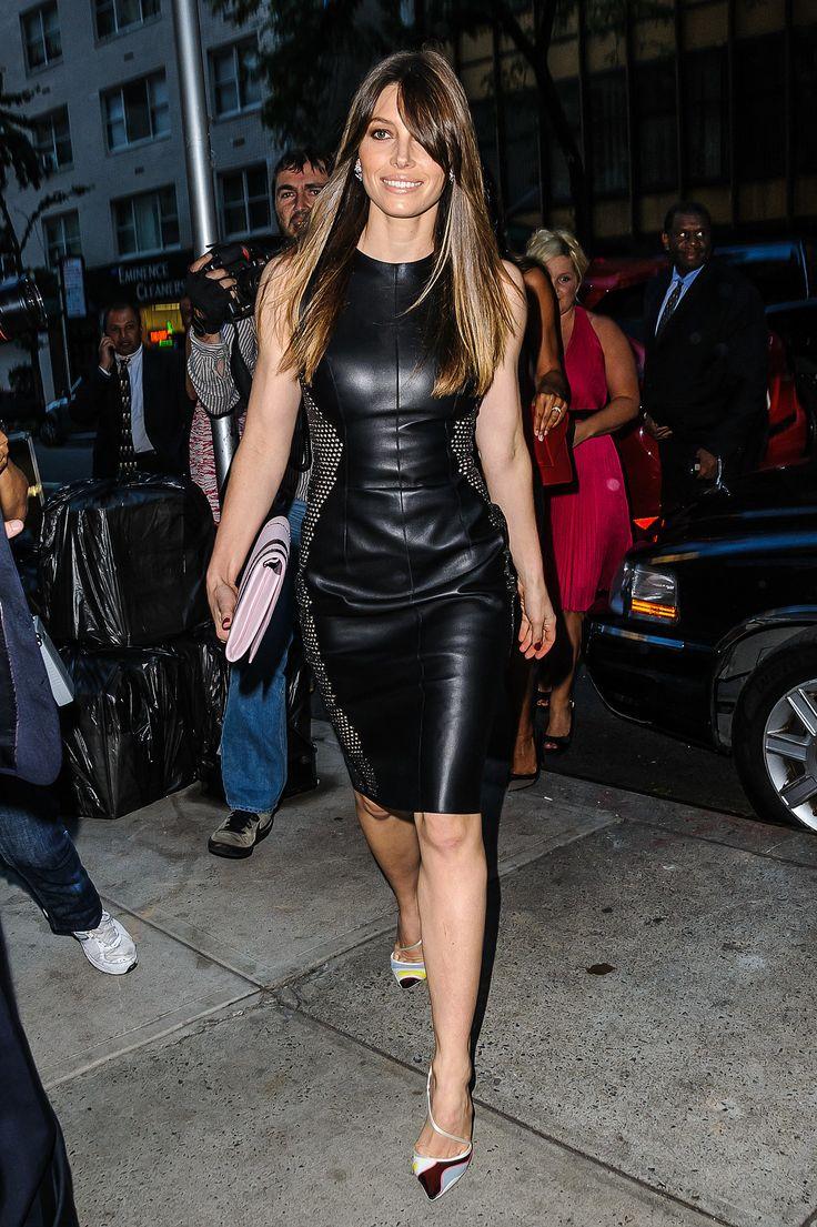 Image Of Jessica Biel Leather Dress