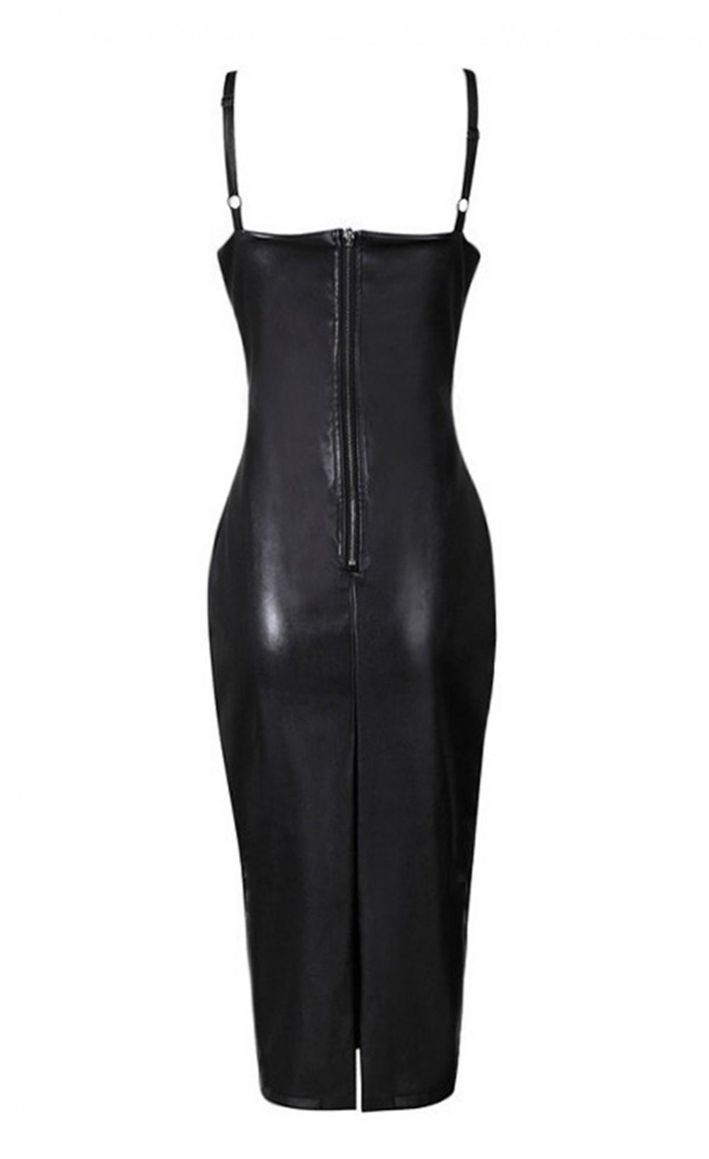 Black strappy faux leather dress