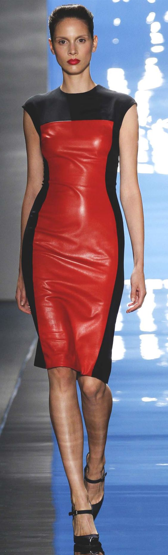 Black and red veggie leather dress