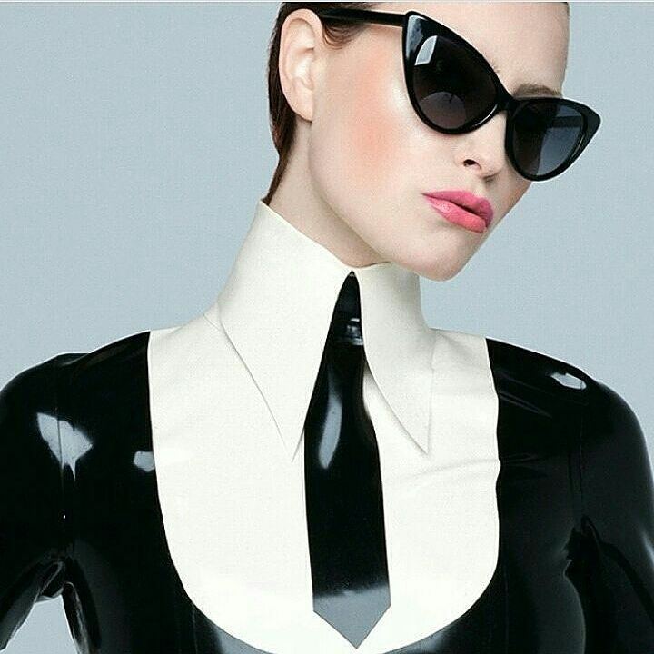 Black and white latex blouse