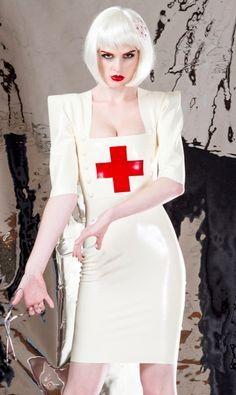 White latex nurse costume