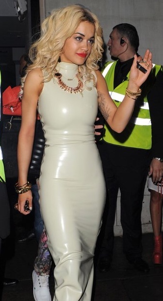 Image Of White Latex Dress Worn By Rita Ora