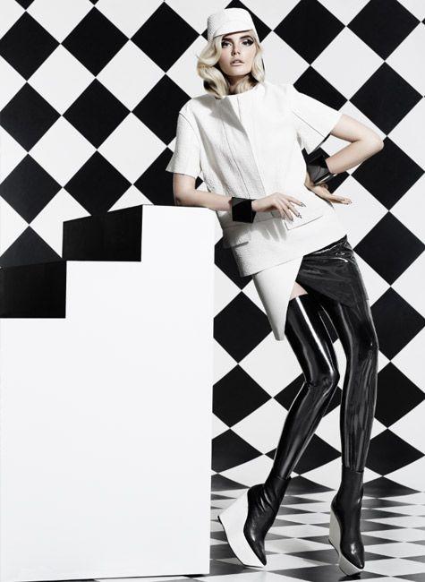 Black and white latex skirt