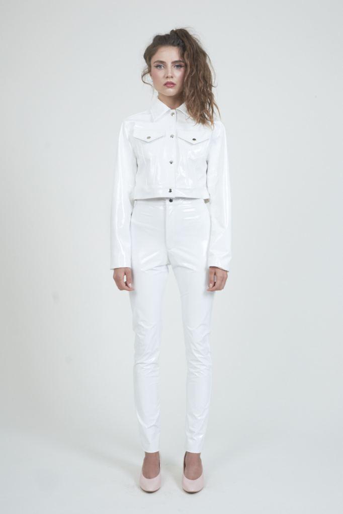 White shiny vinyl fabric