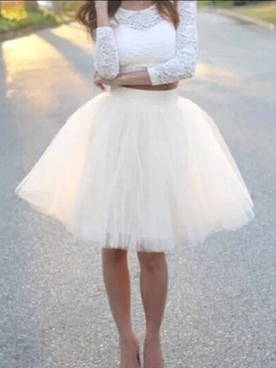 Short white tulle skirt