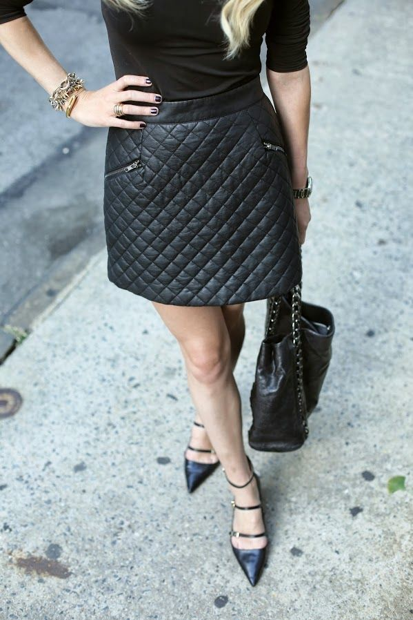 ff2dc32a6 Image of: Quilted leather skirt.