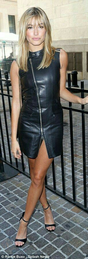 Faux leather dress with zipper detail