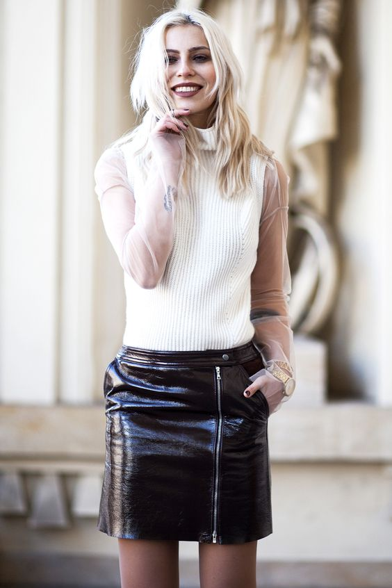 Zip-embellished vinyl skirt