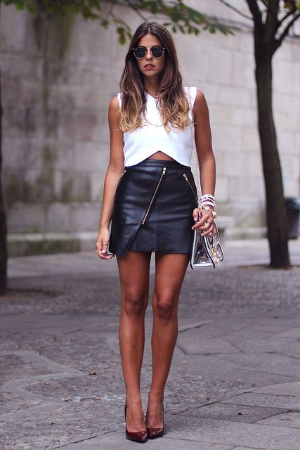 Faux leather mini skirt with zippers