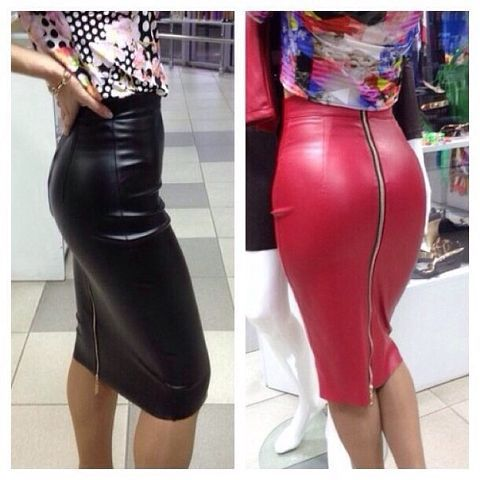 Faux leather skirts with zippers