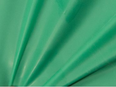 Green latex sheeting for use in fashion and exercise.