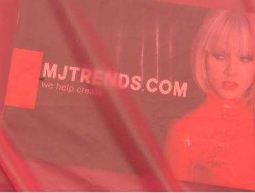 Semi-transparent red latex sheeting.