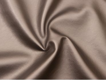 Metallic silver faux leather fabric.