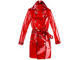 Clear red plastic fabric for raincoat. thumbnail image.