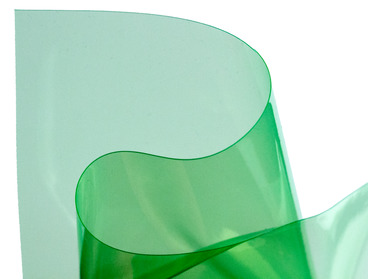 Semi-transparent green vinyl fabric.
