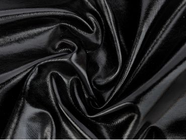black foil spandex lame 4 way stretch fabric