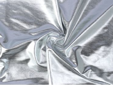 reflective spandex foil lame silver stretchy fabric