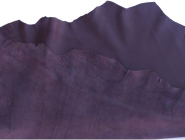 both sides of purple lambskin leather hide