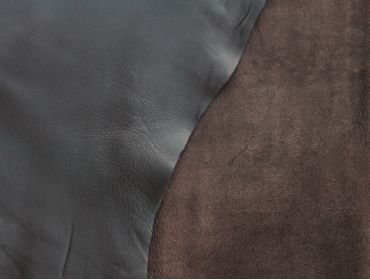 both sides of brown lambskin leather hide
