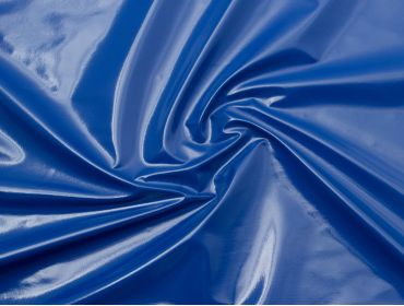 Royal blue vinyl fabric for mini skirts.