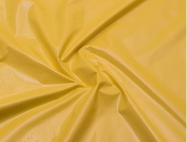 Yellow stretch vinyl fabric.