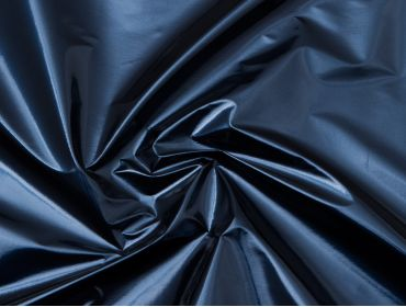 Metallic blue vinyl fabric.