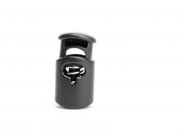 Black barrel shaped cord lock.