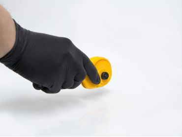 Black rubber gloves for working with chemicals, adhesives, glues, solvents, etc.