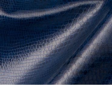 Blue faux snakeskin fabric.