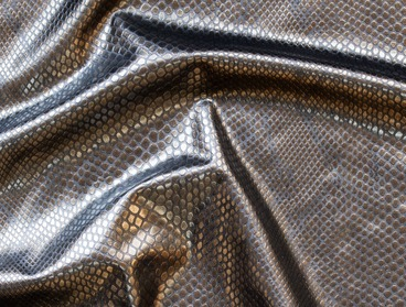 Metallic bronze gold faux snakeskin fabric
