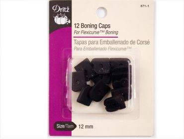 Dritz black boning caps for corsetry.