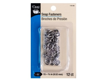 Dritz silver snap fasteners for shirts, blouses, onesies, etc.