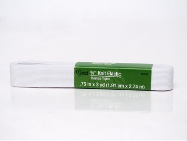 Three quarter inch white elastic.