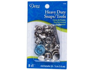 Dritz heavy duty silver snaps with tool.