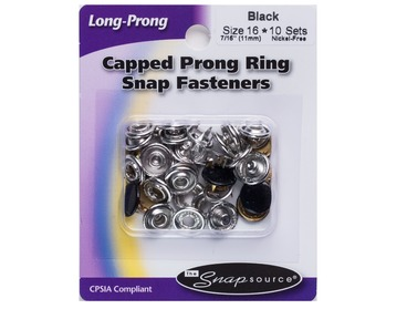 Black capped prong snap fasteners.