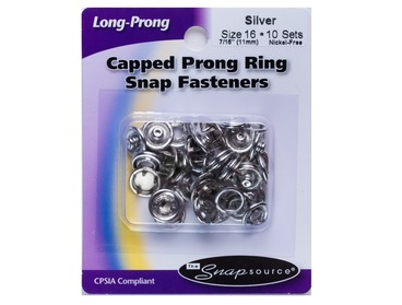 Silver capped snaps for shirts, blouses, jeans, bags, upholstery, etc.