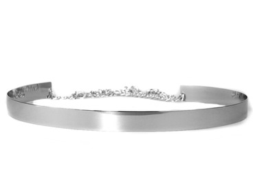 Silver metal belt.