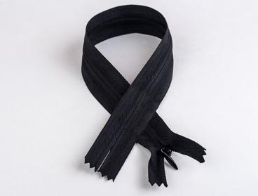 Black nylon invisible zipper.