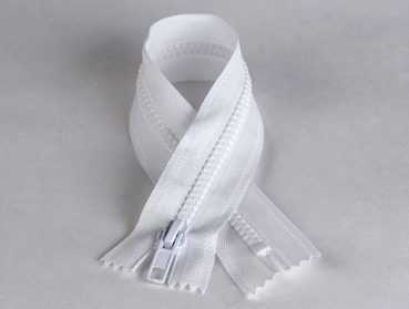 10 inch white zipper with plastic teeth.