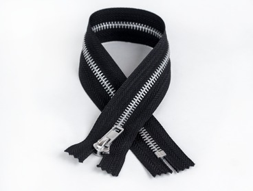Black non-separating aluminum zipper.