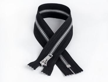 Black non-separating aluminum zipper.