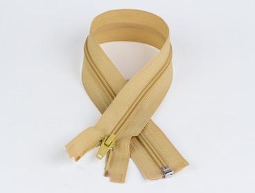 Gold toned 10 inch nylon zipper.