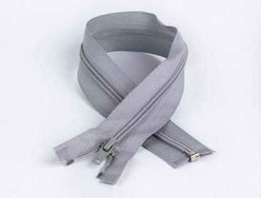 14 inch grey separating zipper with nylon teeth.
